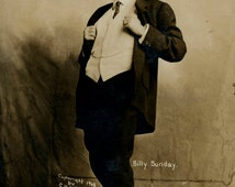 RPPC Billy Sunday - 1800s Baseball Player Turned Evangelist - with note