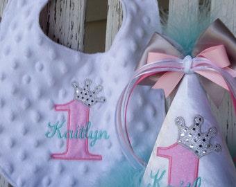 Baby Girls 1st Birthday Hat - Girls 1st Birthday Bib - Princess Party Hat & Bib Set - Personalized