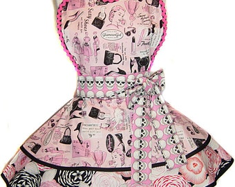 """Ready-To-Ship Retro """"Pretty In Pink...With Skulls"""" Fashion Advertising Diner Pinup Apron-A """"Tie Me Up Aprons"""" Exclusive"""