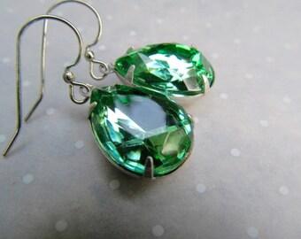 1920s Art Deco Earrings Wedding Bridal Earrings Sterling Earrings Peridot Green Earrings Teardrop Earrings Pear Earrings- Peridot Drops
