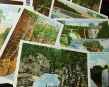 AuSable Chasm, New York  vintage C.W Hughes and Co. Mid-Century Travel Postcard Set of 12 Scenes