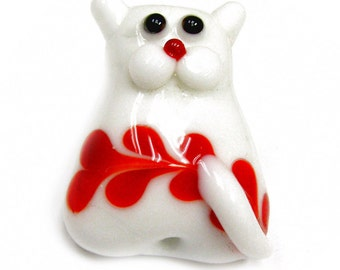 Lampwork Glass Novelty Cat Beads, Sizes around  29x22x12mm, 49x32x19mm,  43x27x22mm