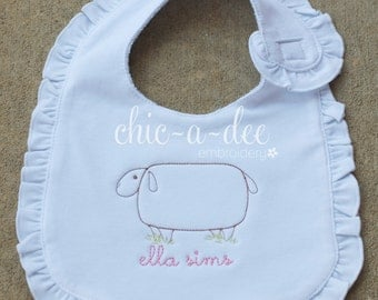 Personalized Sheep Ruffle Bib