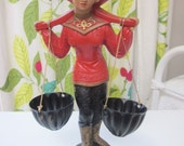 Asian Woman Ceramic Figurine 1950 American Art Ind. Hand Painted with Metal Baskets