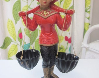 Asian Woman Chalkware Figurine 1950 American Art Ind. Hand Painted with Metal Baskets