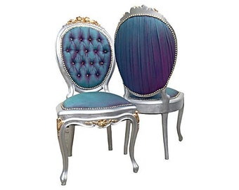 French Victorian Upholstered Accent Side Chairs Gilded Gold Silver Two Tone  Silk Tufted Crystal Buttons Nail Head Aqua Blue Purple Magenta