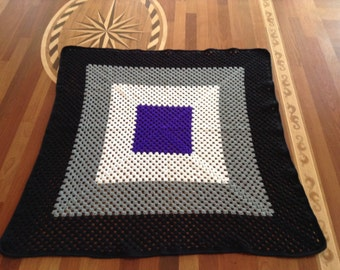 Asexual Pride Crocheted Afghan (READY TO SHIP!)