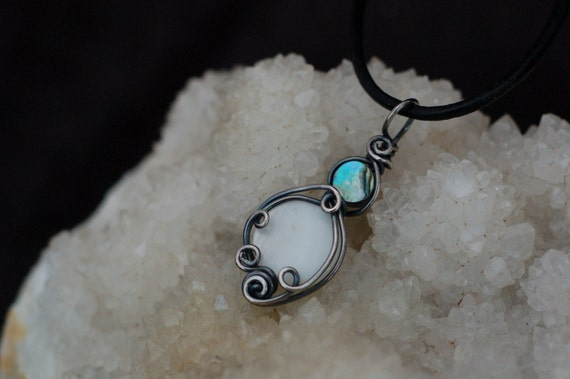 Abalone Shell and Mother of Pearl Pendant in Dark Patina Silver / Blue and White Shell Necklace / Small Wire Wrap Pendant / Antique Silver