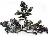 Vintage Bird Wall Art Dogwood Branch Upcycled SYROCO DART Wall Hanging Floral Art Plaque Black Shabby Chic Wall Decor Mid Century Set of 3
