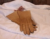 Leather Gloves Shabby Chic Western Charmode Hand Patterned Womens Accessories Vintage 1950s 50s (A)
