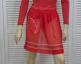 Vintage Red Organza Apron 1950s