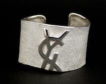 Vintage YVES SAINT LAURENT Logo Ribbed Cuff Bracelet