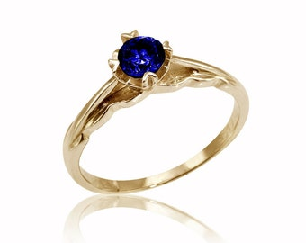 Sapphire Engagement Ring, Sapphire Ring, 14K Sapphire Ring, Sapphire Jewelry, For Her, Sapphire Engagement Ring, Unique Engagement Ring