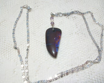 """Boulder Opal Necklace """"Nebular Explosion """" 26 Carats, Wire Wrapped Bail, Natural Austrailian Boulder Opal, 22 inch Sterling Chain"""