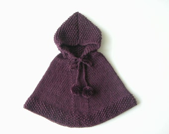 Baby Boy Knit Poncho, Little Girl Alpaca Cape, Toddler Sweater, Baby Girl Hoodie With Pom Poms, Made To Order