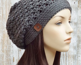 Charcoal Grey Slouchy Hat -  Womens Slouchy Hat - Crochet Slouch Hat - Button Beanie Hat - Winter Accessories // THE RILEY //