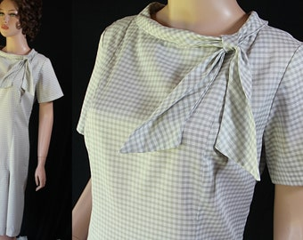 60s Karen Kane Plus Size Shift Dress Checked Mad Men Office Fashion
