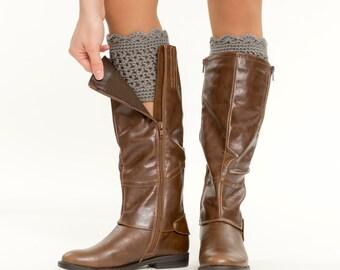 Gray Knit Ruffled Boot Cuffs, Boot Topper, Scalloped, Crocheted, Handmade Knitted Women's Winter Accessory, Crochet Boot Warmer, Boot Decor