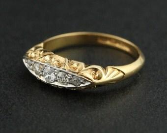 Edwardian 18k Yellow Gold 5 Stone Diamond Engagement Ring