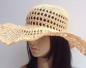 Raffia Summer Hat ....Handmade Crochet Sun Hat ...... Raffia Floppy Hat.... Woman Beach Hat