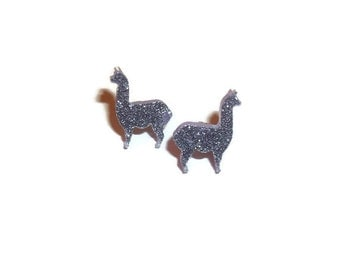Lilac Glitter Llama Earrings, Cute  Purple Stud Earrings, Animal Jewelry, Kawaii Quirky Alpaca, Laser Cut