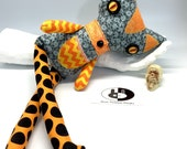 Orange Polka Dot Cat plush for halloween decor, soft halloween cat, stuffed cat plush handmade in cotton fabrics, halloween decoration