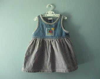 Vintage OshKosh jumper / plaid and denim jumper dress / baby girl 12 to 18 months