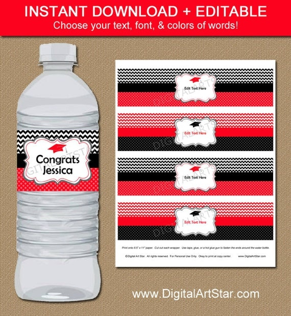 It is an image of Universal Graduation Water Bottle Labels