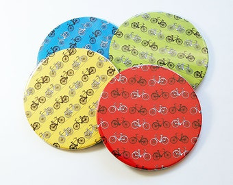 Bicycle Coasters, Cycling Coasters, Drink Coasters, Coasters, Barware, Hostess Gift, Housewarming Gift, Bright Colors, Bicycle (5089)