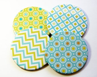 Drink Coasters, Coaster, Set of Coasters, Abstract Design, Wine Coasters, Blue, Green, Housewarming Gift, Hostess Gift, Modern Design (5177)