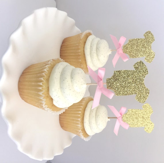 20 Gold Glitter Baby Shower One Piece Cupcake Topper with Pink