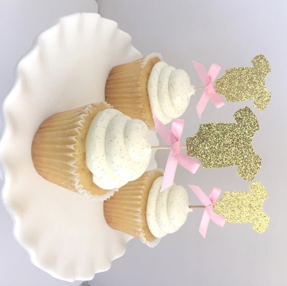 Pink Baby Shower Cupcakes : 20 Gold Glitter Baby Shower One Piece Cupcake Topper with Pink