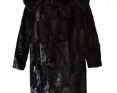 Faux Fur Coat Black Vintage Textured