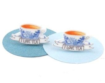 I love tea earrings blue china vintage cup
