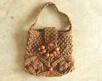 70's BOHO MACRAME TOTE - Purse / Hippie / Festival Bag / Authentic / Chic