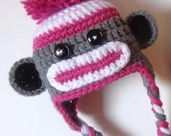 Neworn Pink and Gray Crochet Sock Monkey Hat- Photo prop- Baby Boy Baby Girl