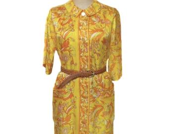 vintage 1960s floral shirtdress / yellow orange / silk blend / tunic dress / dress with pockets / women's vintage dress / size extra large