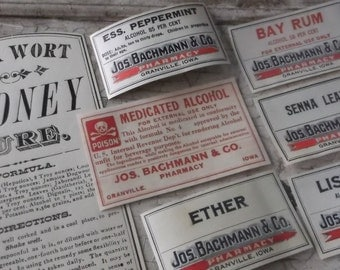 Medicine Labels, Antique Labels, Pharmacy, Drug Store, Authentic, Ephemera, 1800s, 7 Labels, Apothecary, Supplies, Props, Scrapbooking