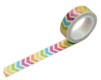 Washi Tape in Rainbow Chevron, 15mm x 10m
