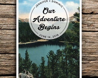 Adventure Mountain Save the Date Vintage Postcard // Colorado Wedding Lake Save the Date Outdoors Wedding Invitation North Carolina Camp