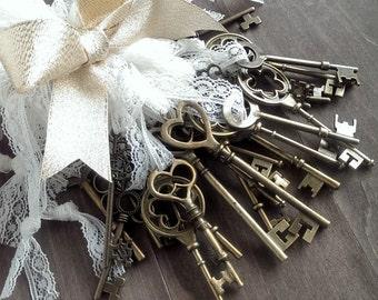 Skeleton key favors (24) skeleton key wedding favors, gift tie ons, christmas tree decorations, rustic wedding favors