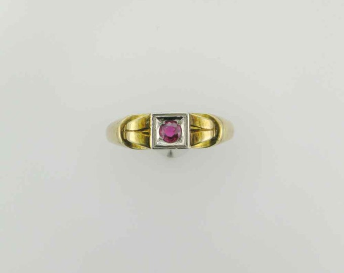 1950's Yellow Gold Ruby Ring, Right Hand Ring, Alternative Engagement/Wedding Ring, July Birthstone Ring