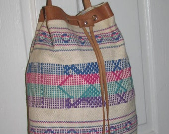 AZTEC BUCKET DRAWSTRING Purse // Brown Leather Buckle Strap Tote Bag Vintage Tribal Print Boho Hippie Ethnic 70s Handbag Rainbow 80's