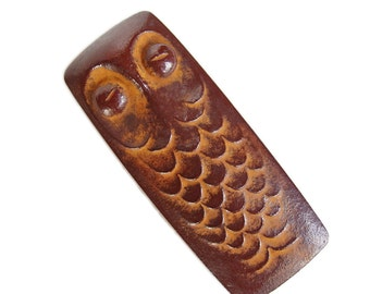 "Sculptural Owl. Vintage Cast Iron ""Inkan"" Case. Handmade Metal Objet d'Art. Rustic. Naive. Primitive. Japanese MCM. Metal Box. Case."