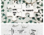 STORE CLOSING SALE I Love You To Pieces, Couples Gift, Friends, Gift, Puzzle Piece, Key Chains, Hand Stamped, Long Distance Relationship