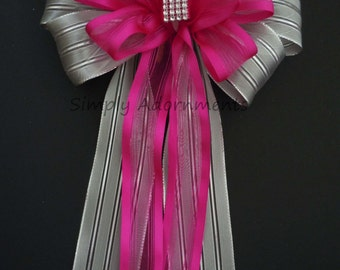 Hot Pink Silver Wedding Pew Bow Silver Bling Wedding Church Pew Bow Hot Pink and Silver Wedding Ceremony Bow Church Aisle Bows
