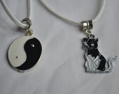 Suede Necklace with Cat or Yin Yang Charm
