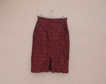 Clueless  90s Wine Red Tube Skirt -  quilted fabric  / Clubkid / raver / lolita /gothic