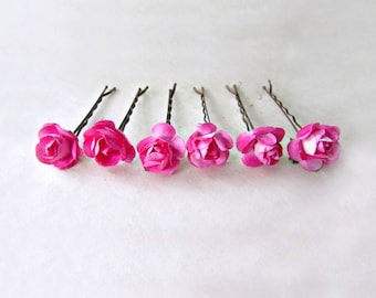 Hot Pink Paper Rose Bobby Pins. Bright Pink Flower Hair Pins. Rustic Wedding Hair Accessories. Small Hair Flowers for Bridesmaids.