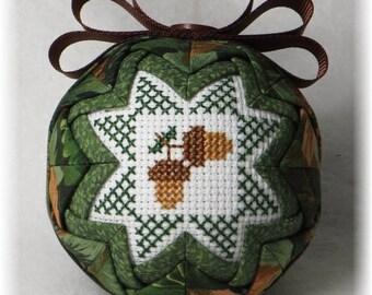 Quilted Keepsake Fall Ornament - Acorns / Crisp Days of Fall